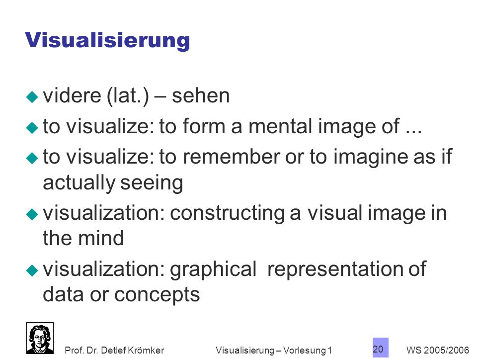 to visualize: to form a mental image of ...