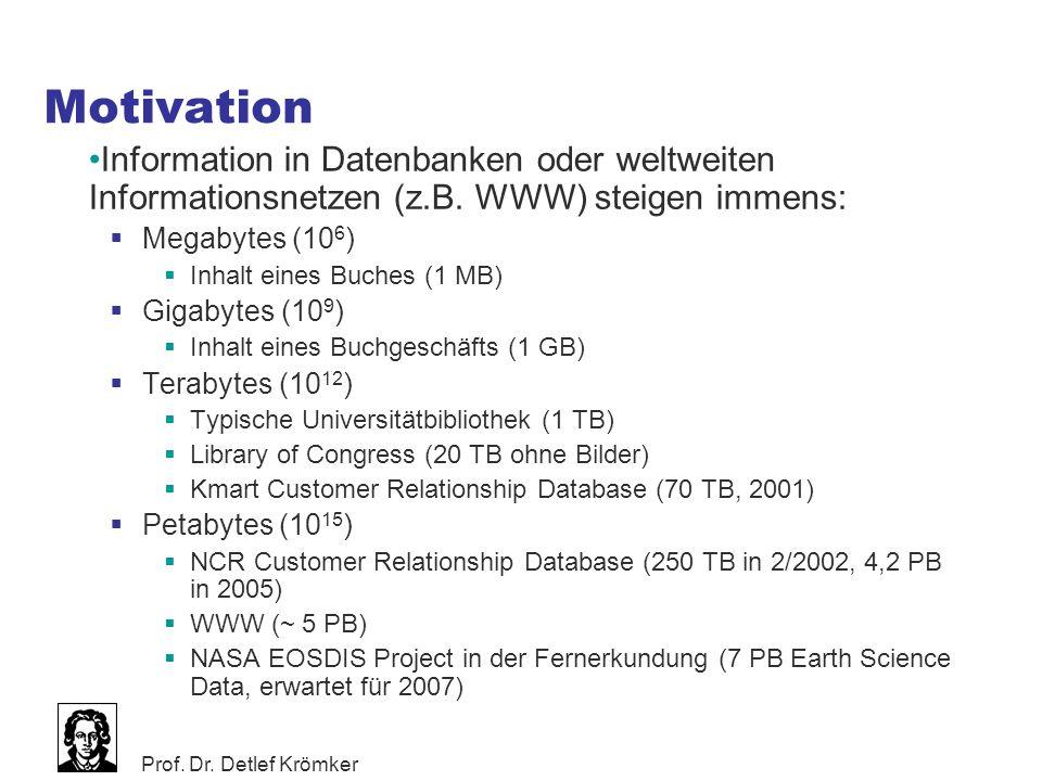 Motivation Information in Datenbanken oder weltweiten Informationsnetzen (z.B. WWW) steigen immens: