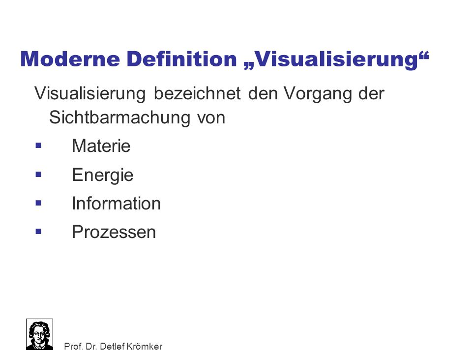 """Moderne Definition """"Visualisierung"""