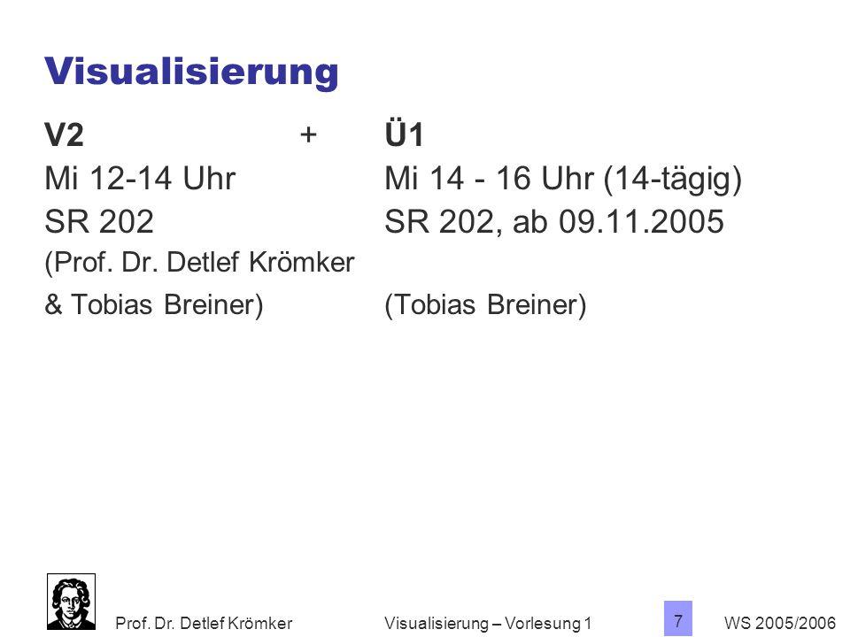 Visualisierung V2 + Ü1 Mi 12-14 Uhr Mi 14 - 16 Uhr (14-tägig)
