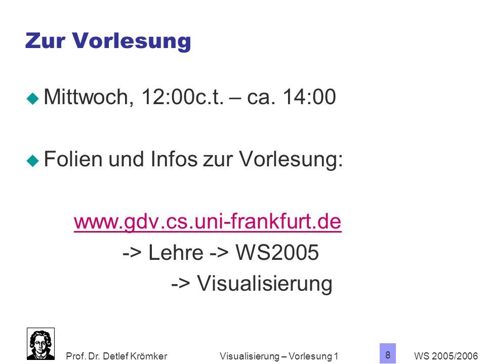 Folien und Infos zur Vorlesung: www.gdv.cs.uni-frankfurt.de