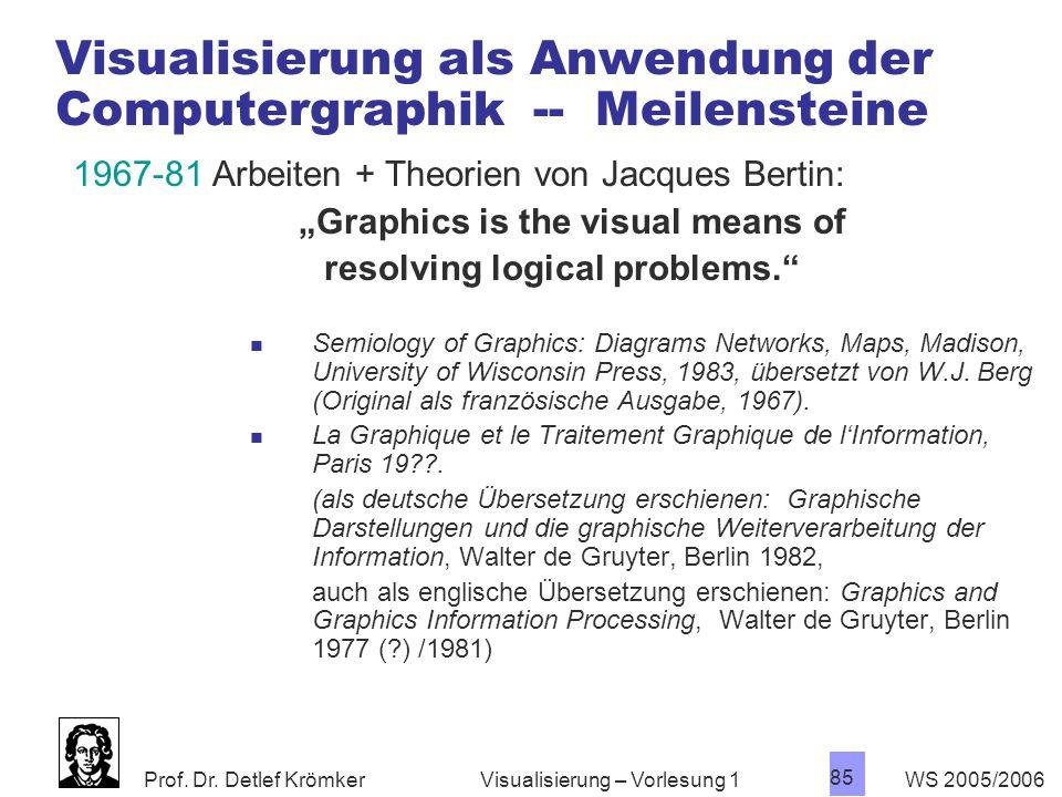 Visualisierung als Anwendung der Computergraphik -- Meilensteine