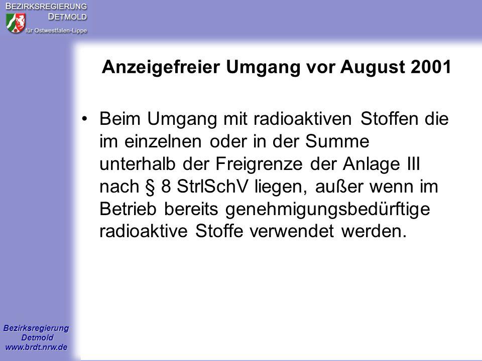 Anzeigefreier Umgang vor August 2001