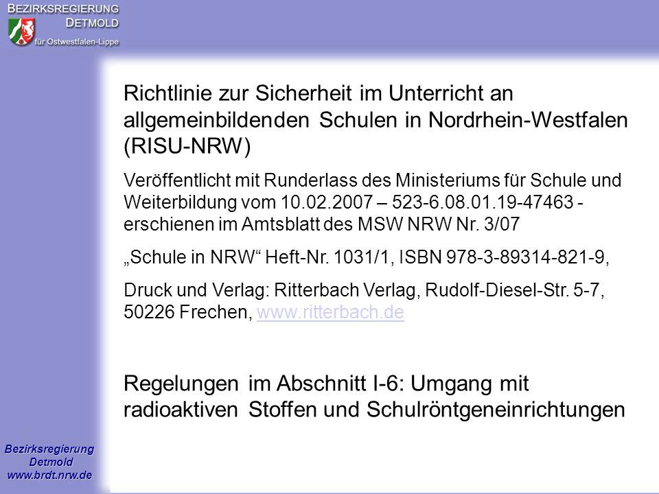 Richtlinie zur Sicherheit im Unterricht an allgemeinbildenden Schulen in Nordrhein-Westfalen (RISU-NRW)