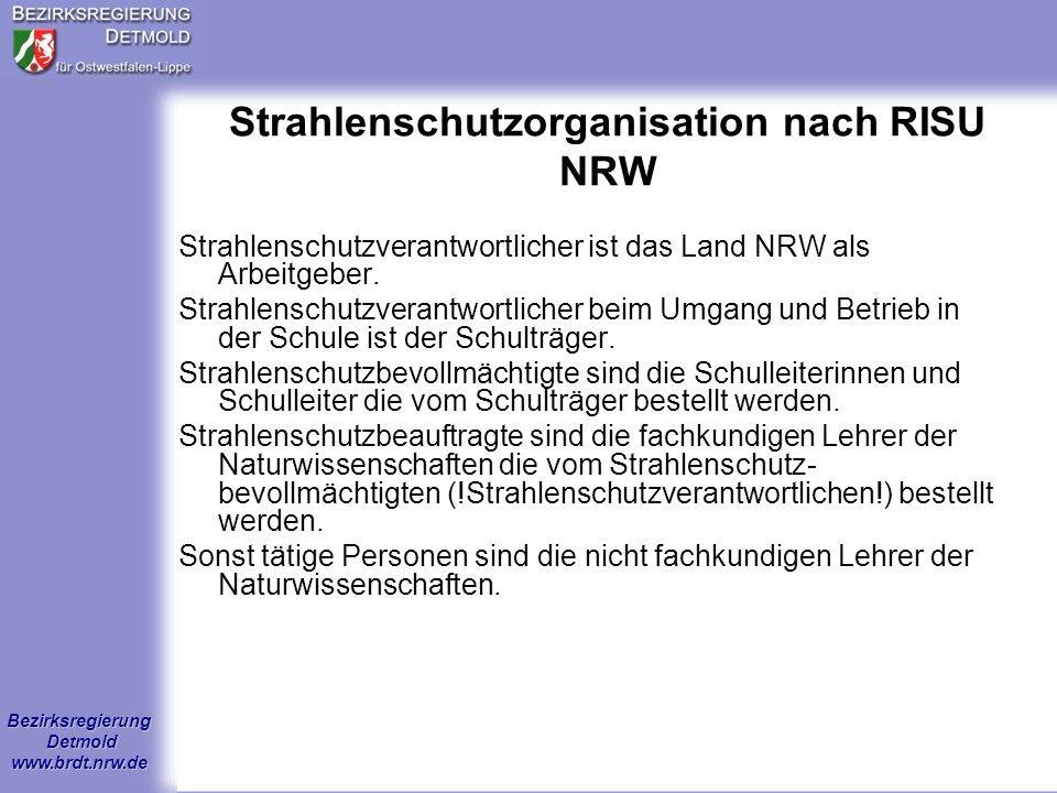 Strahlenschutzorganisation nach RISU NRW