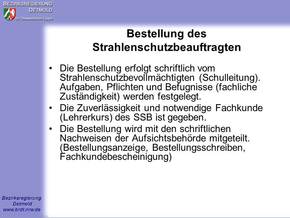 Bestellung des Strahlenschutzbeauftragten