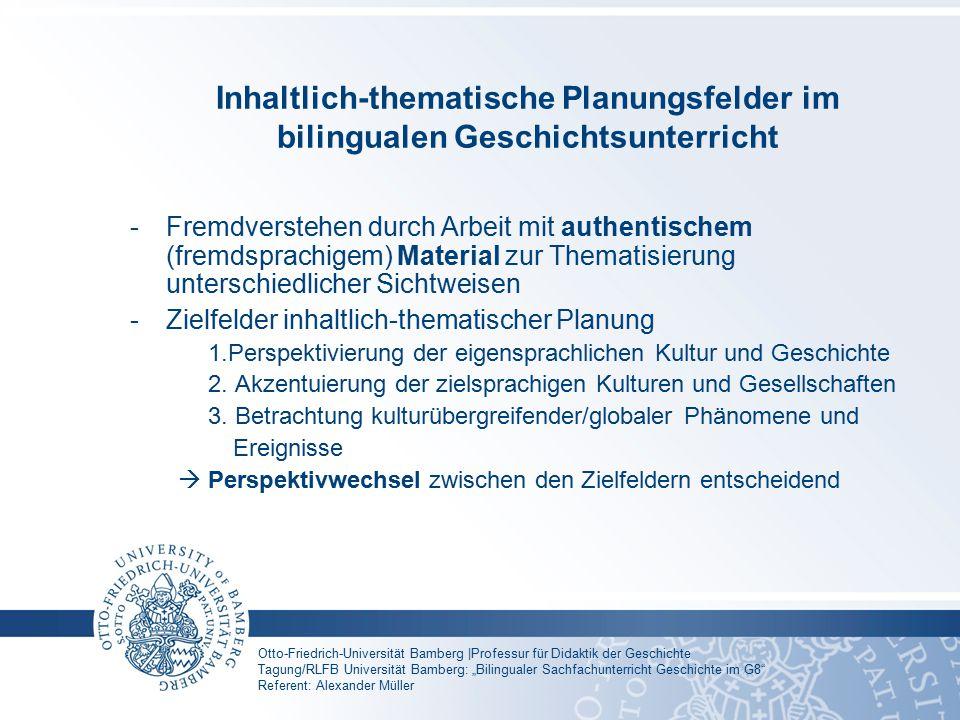 Inhaltlich-thematische Planungsfelder im bilingualen Geschichtsunterricht