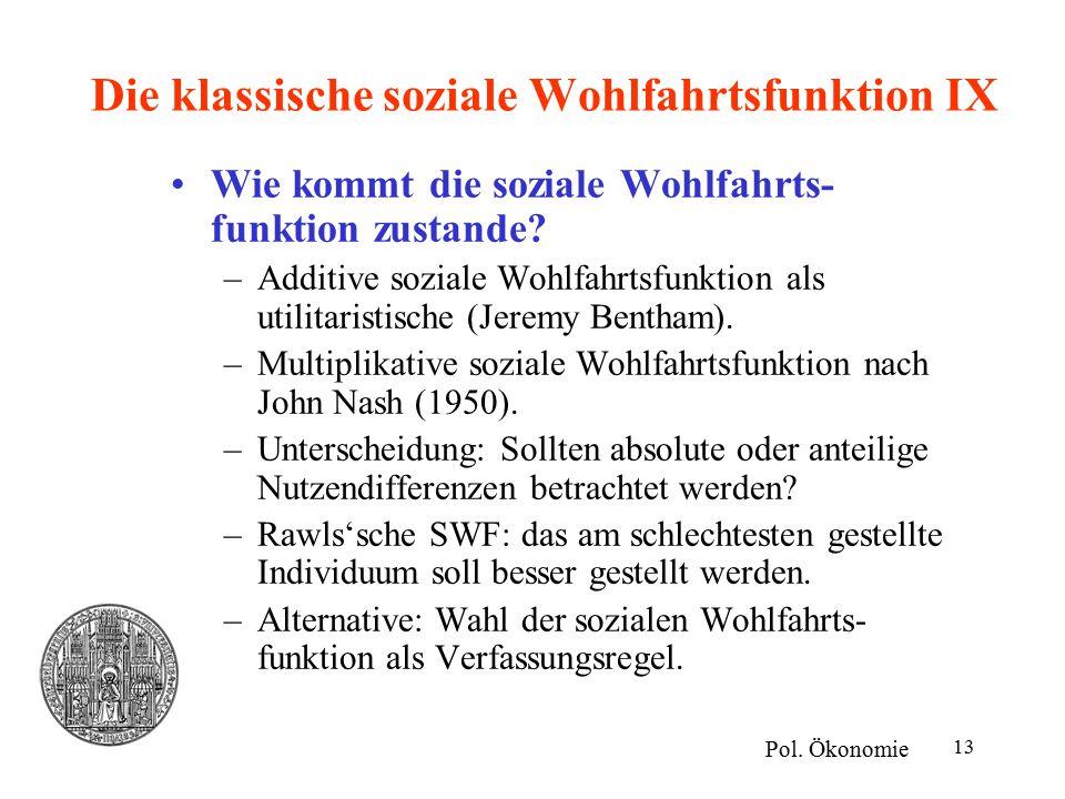 Die klassische soziale Wohlfahrtsfunktion IX