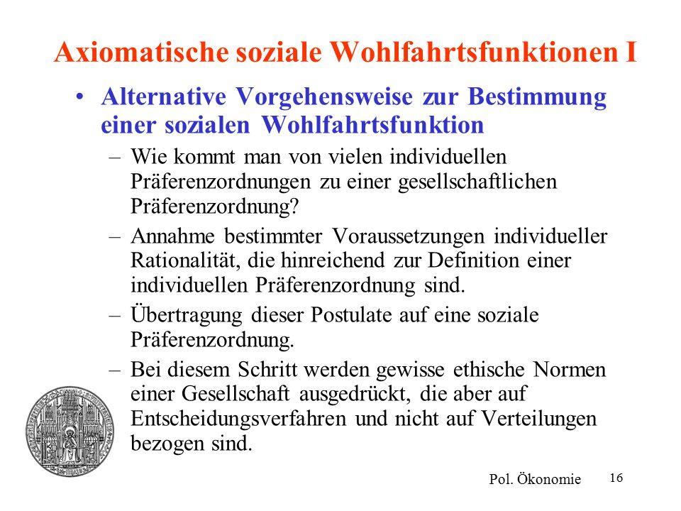 Axiomatische soziale Wohlfahrtsfunktionen I