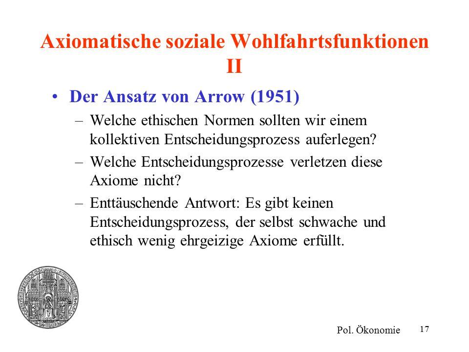 Axiomatische soziale Wohlfahrtsfunktionen II