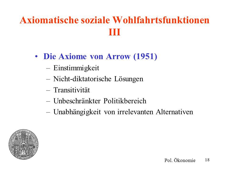 Axiomatische soziale Wohlfahrtsfunktionen III