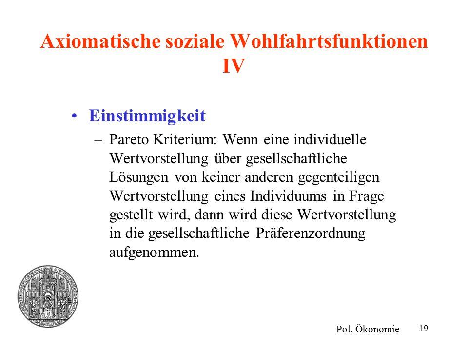 Axiomatische soziale Wohlfahrtsfunktionen IV
