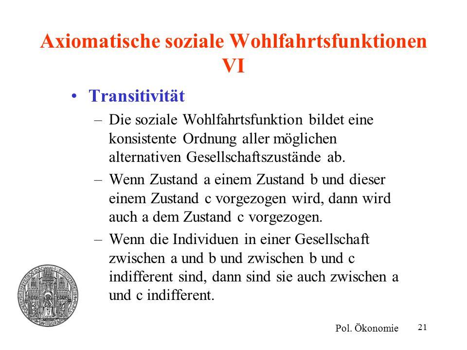 Axiomatische soziale Wohlfahrtsfunktionen VI