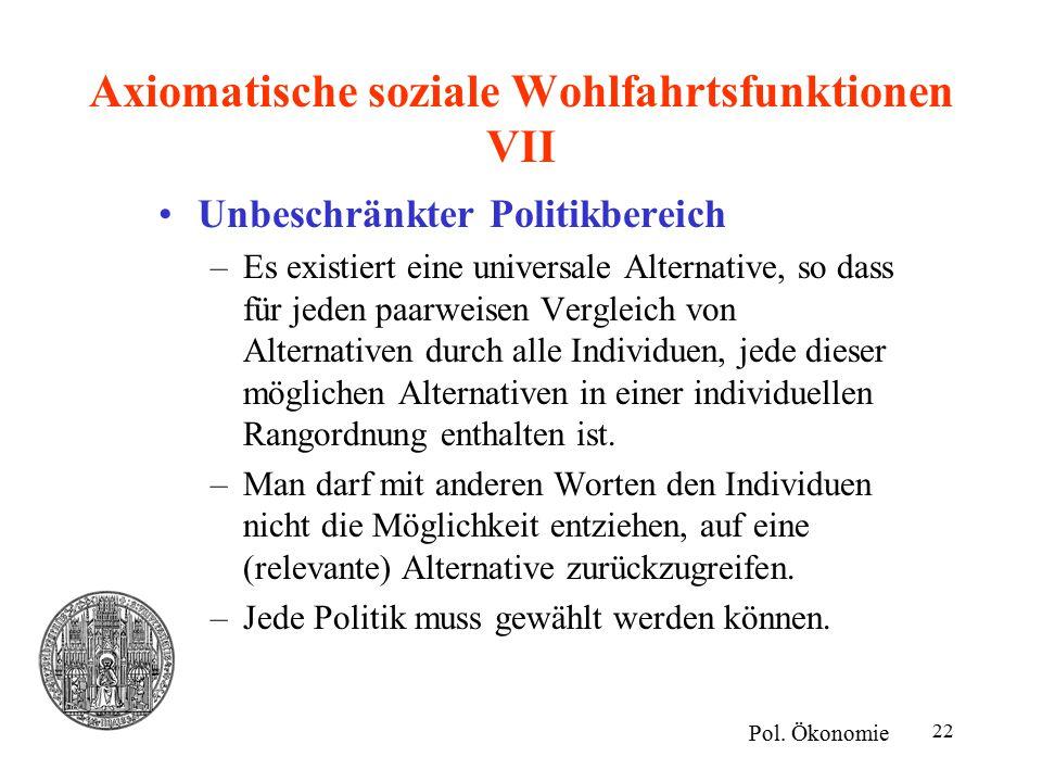 Axiomatische soziale Wohlfahrtsfunktionen VII