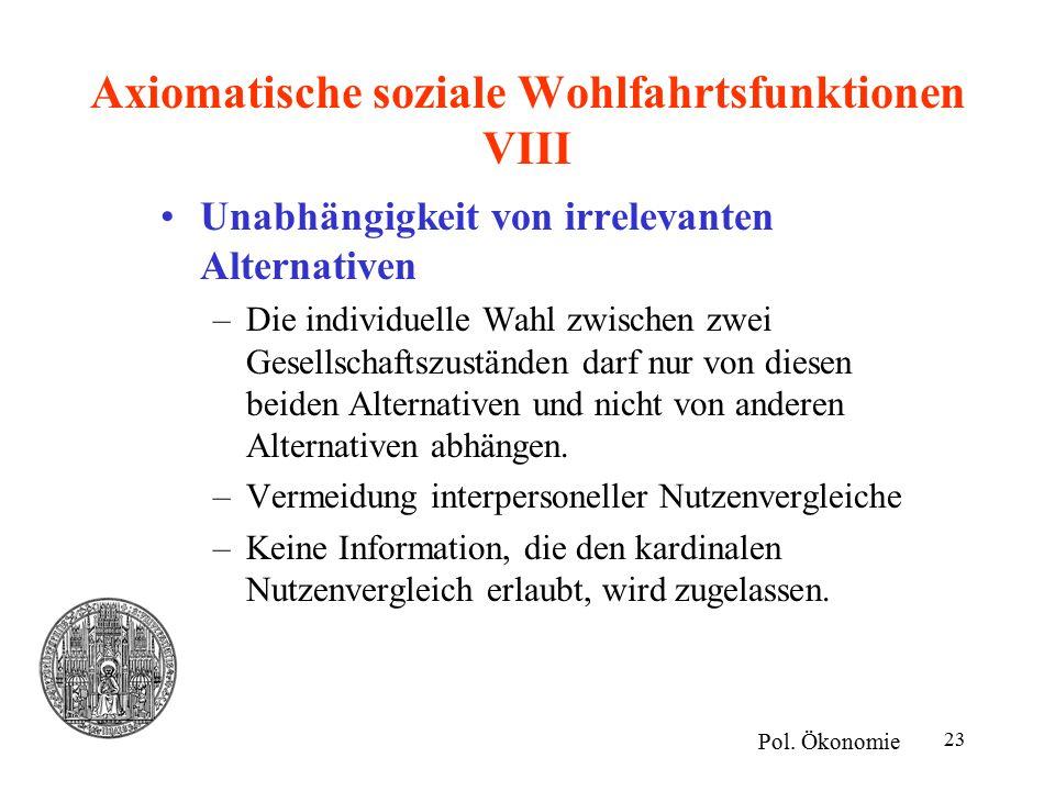 Axiomatische soziale Wohlfahrtsfunktionen VIII