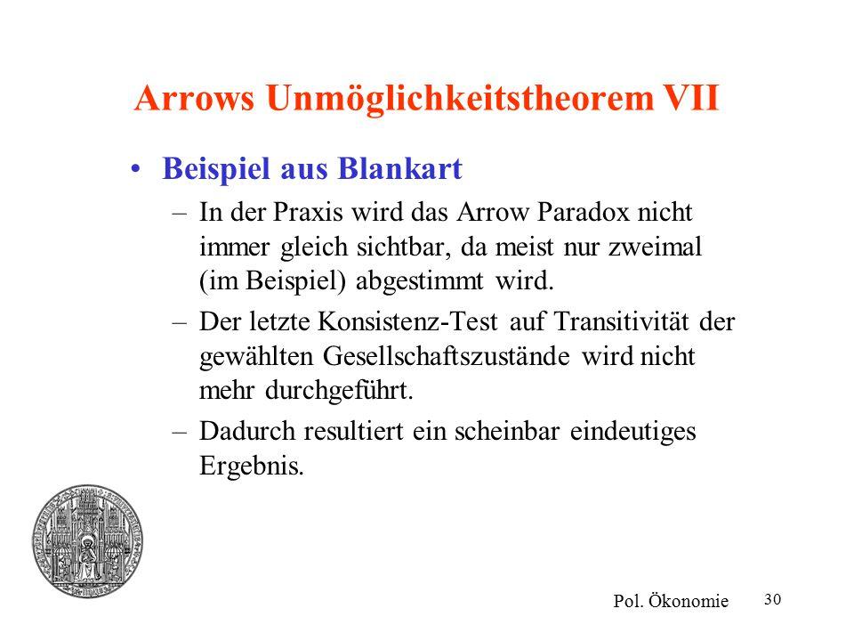 Arrows Unmöglichkeitstheorem VII