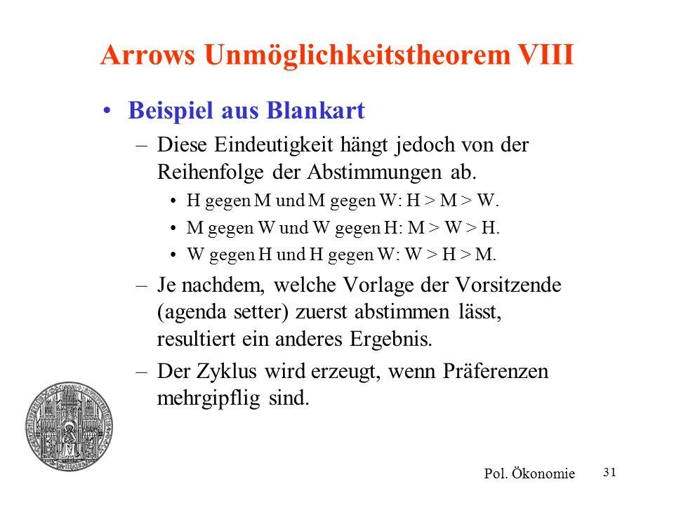 Arrows Unmöglichkeitstheorem VIII