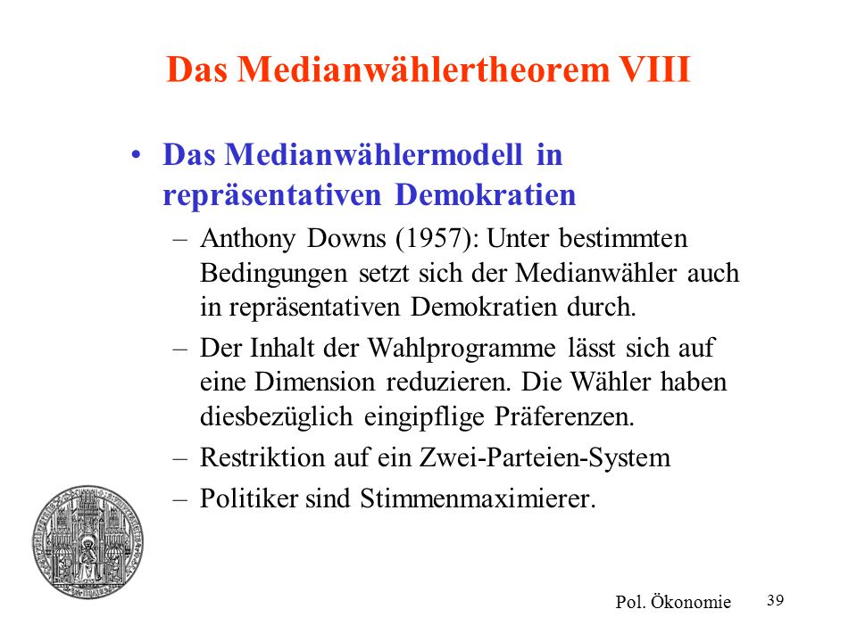 Das Medianwählertheorem VIII