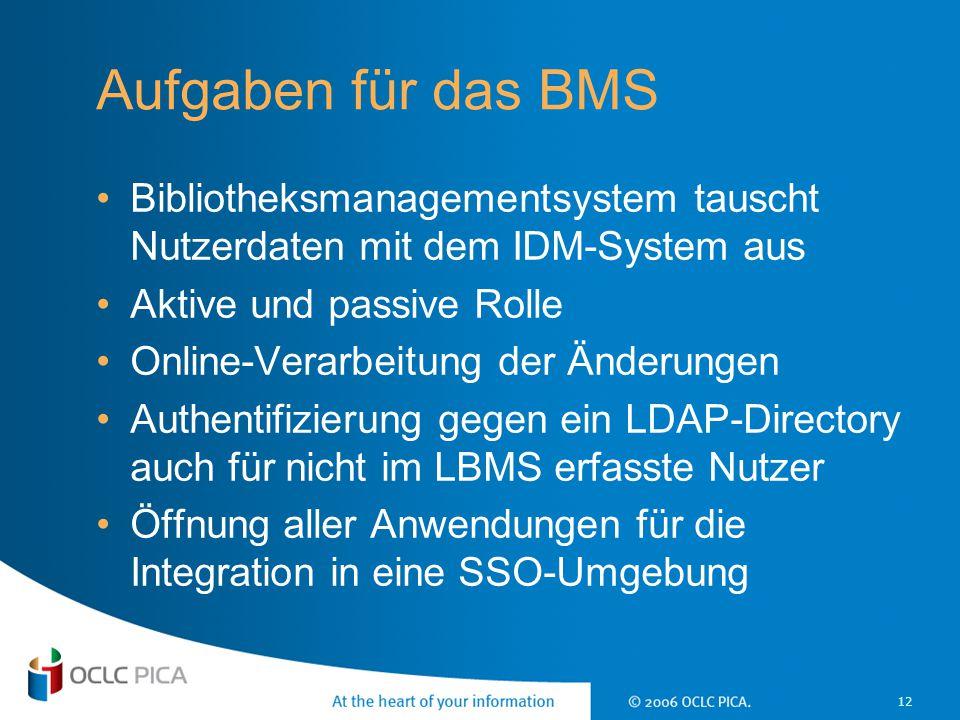17 April 2017 Aufgaben für das BMS. Bibliotheksmanagementsystem tauscht Nutzerdaten mit dem IDM-System aus.