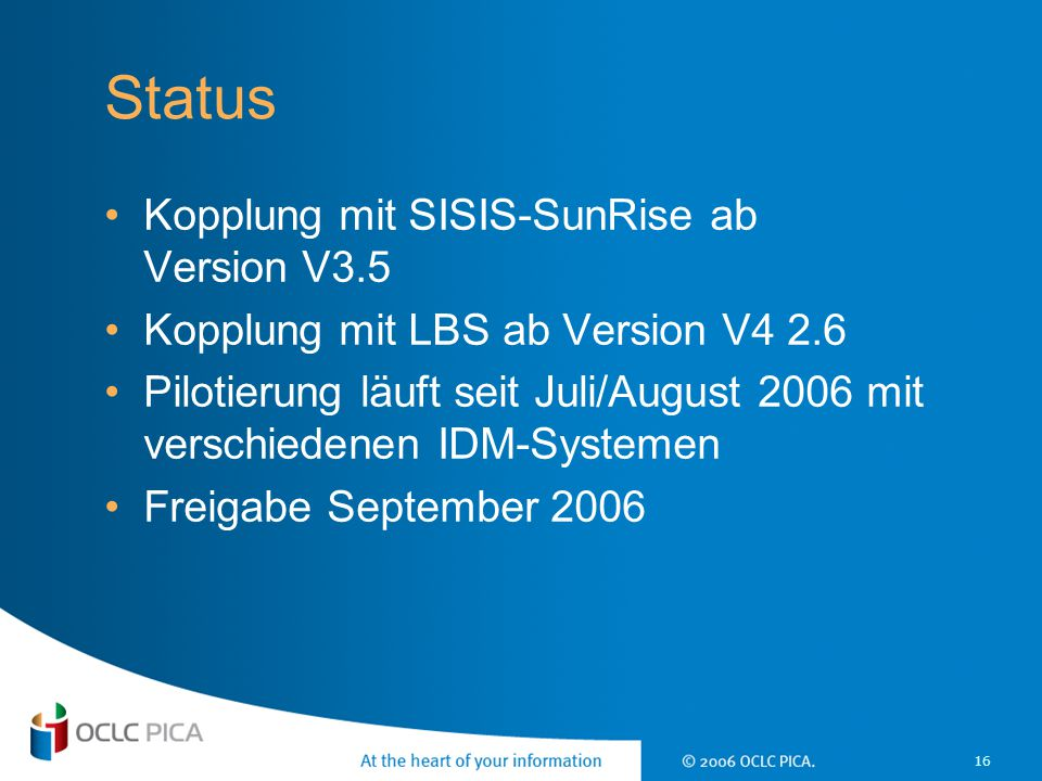 Status Kopplung mit SISIS-SunRise ab Version V3.5