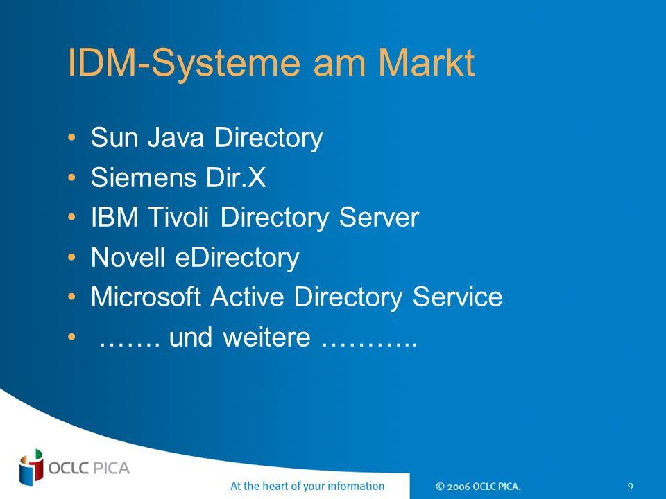 IDM-Systeme am Markt Sun Java Directory Siemens Dir.X