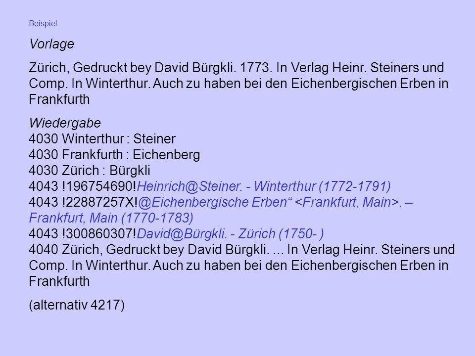 4030 Frankfurth : Eichenberg 4030 Zürich : Bürgkli