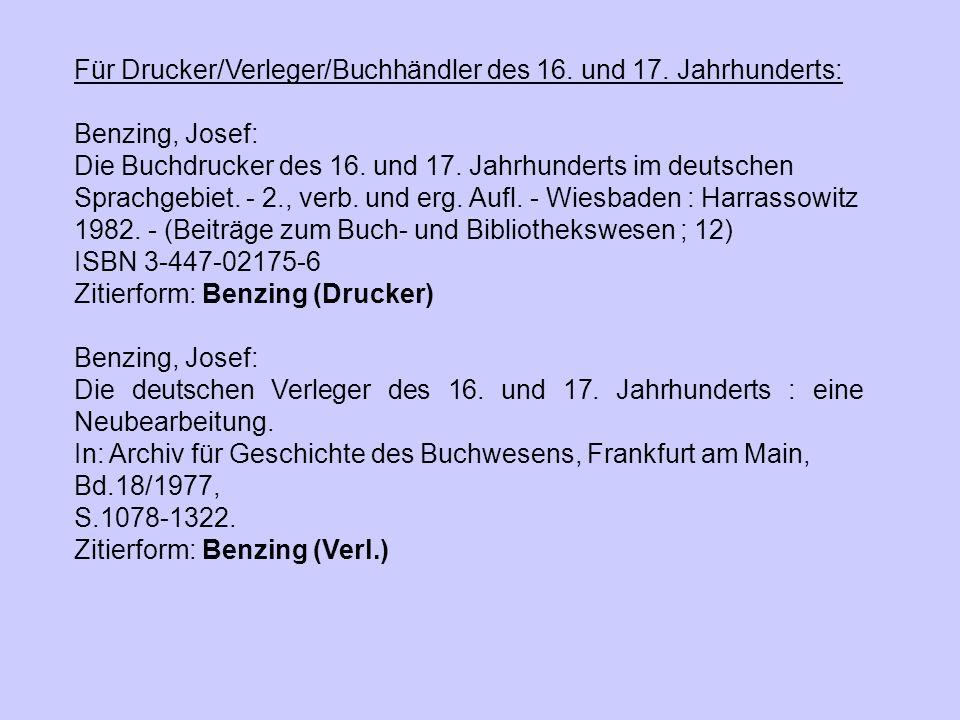 Für Drucker/Verleger/Buchhändler des 16. und 17. Jahrhunderts: