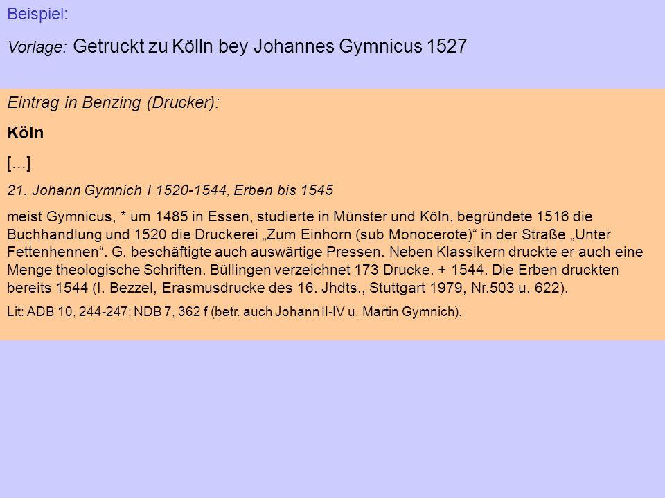 Vorlage: Getruckt zu Kölln bey Johannes Gymnicus 1527