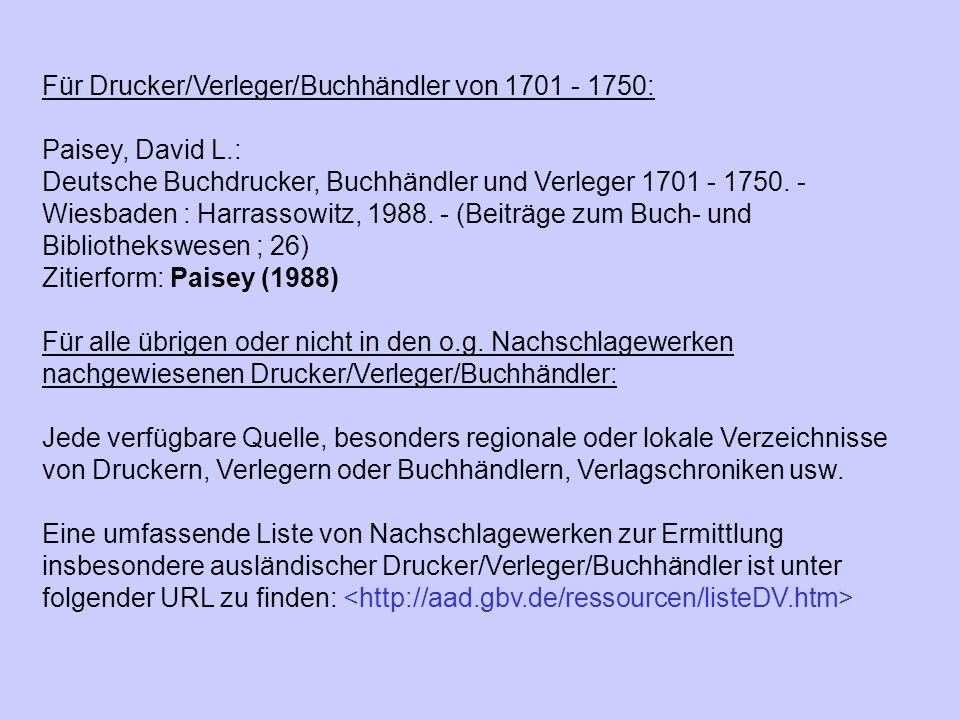 Für Drucker/Verleger/Buchhändler von 1701 - 1750: