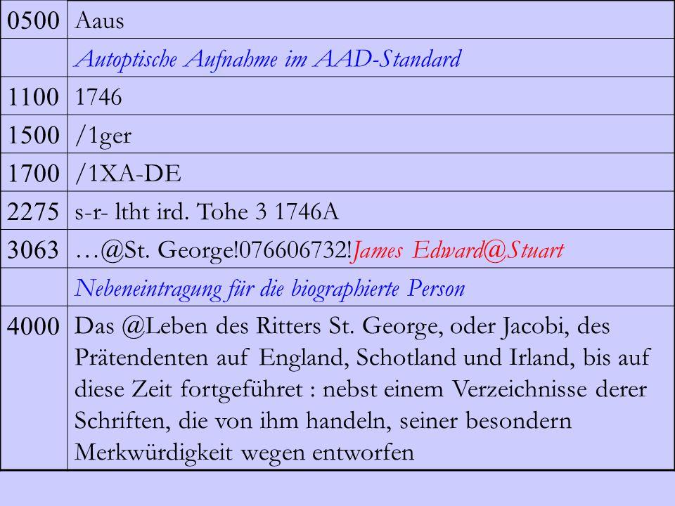 0500 Aaus. Autoptische Aufnahme im AAD-Standard. 1100. 1746. 1500. /1ger. 1700. /1XA-DE. 2275.