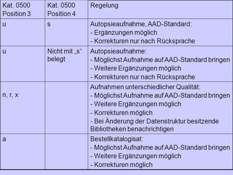 Kat. 0500 Position 3. Position 4. Regelung. u. s. Autopsieaufnahme, AAD-Standard: - Ergänzungen möglich.