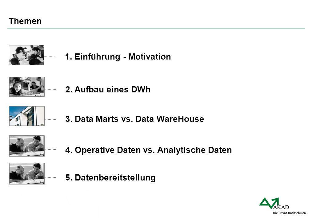 Themen 1. Einführung - Motivation. 2. Aufbau eines DWh. 3. Data Marts vs. Data WareHouse. 4. Operative Daten vs. Analytische Daten.