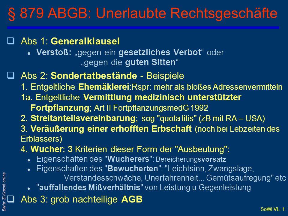 § 879 ABGB: Unerlaubte Rechtsgeschäfte