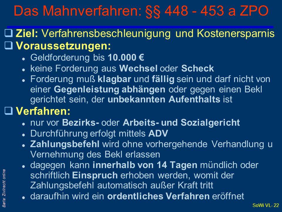 Das Mahnverfahren: §§ 448 - 453 a ZPO