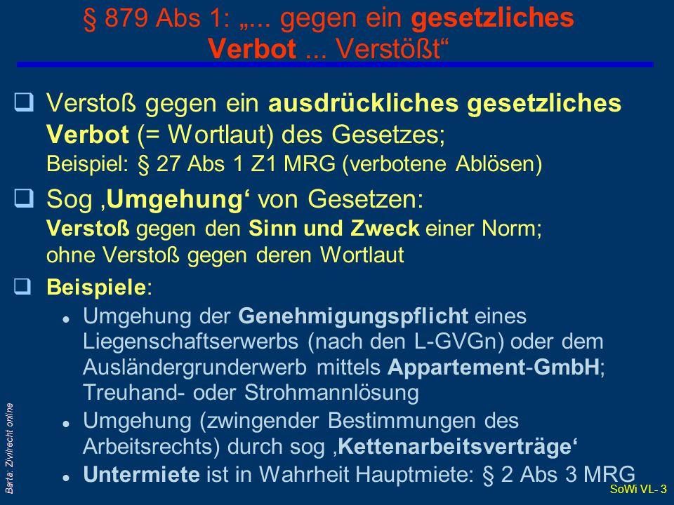 """§ 879 Abs 1: """"... gegen ein gesetzliches Verbot ... Verstößt"""