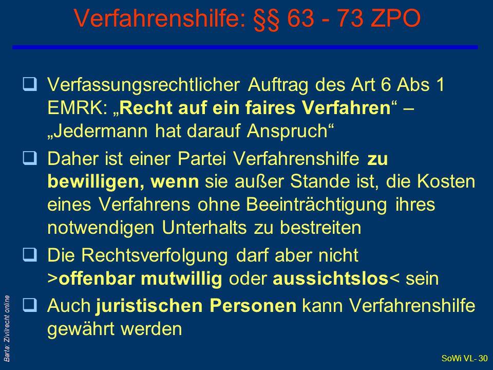 Verfahrenshilfe: §§ 63 - 73 ZPO