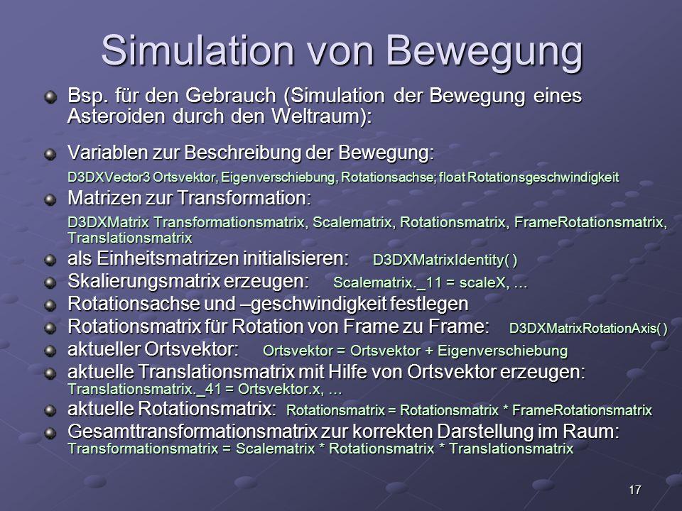 Simulation von Bewegung