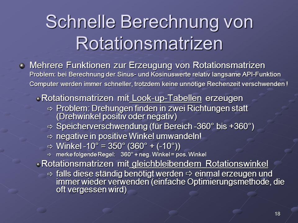 Schnelle Berechnung von Rotationsmatrizen