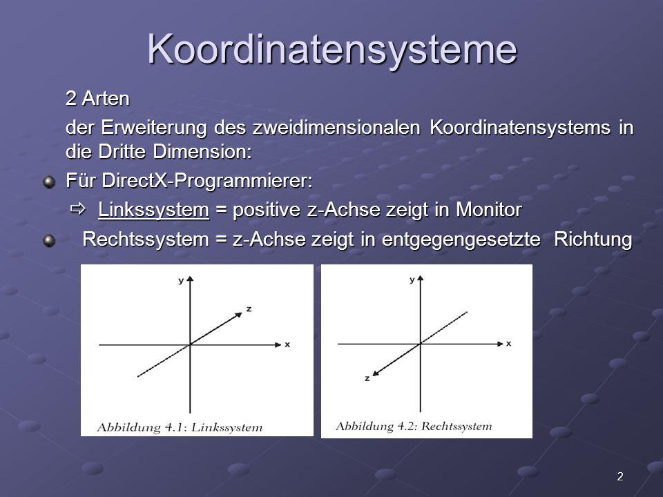 Koordinatensysteme 2 Arten