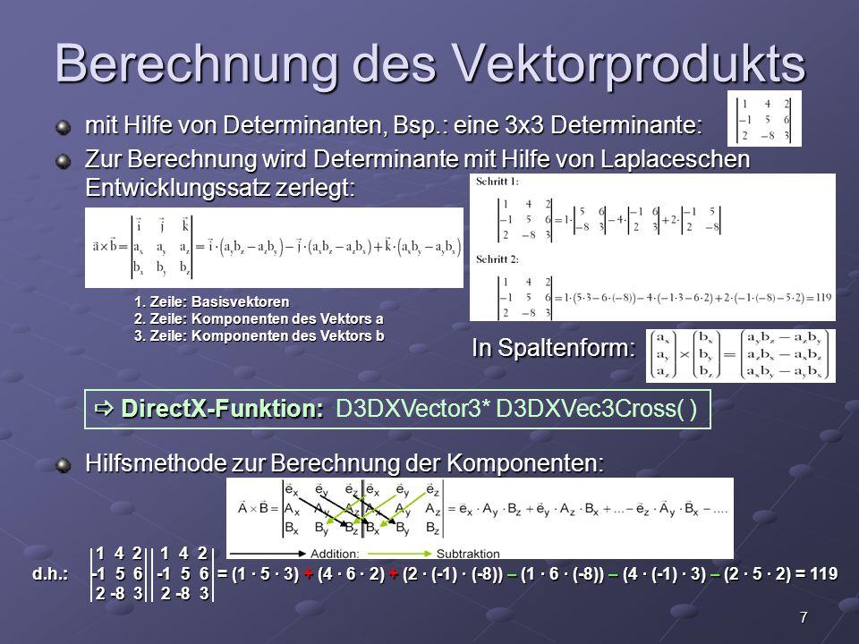 Berechnung des Vektorprodukts