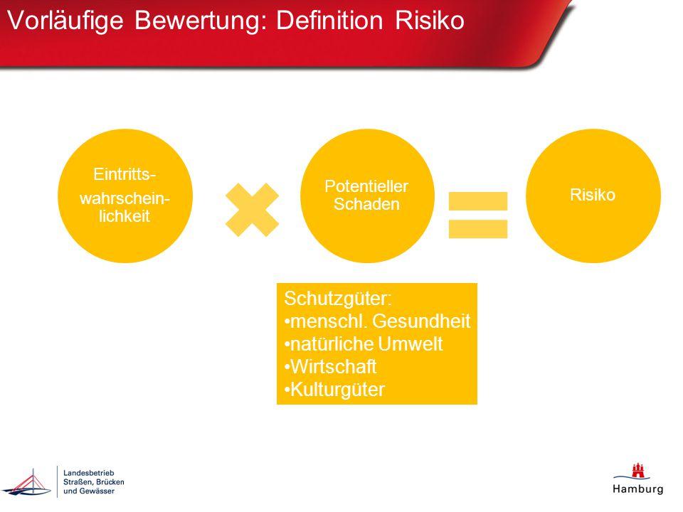 Vorläufige Bewertung: Definition Risiko