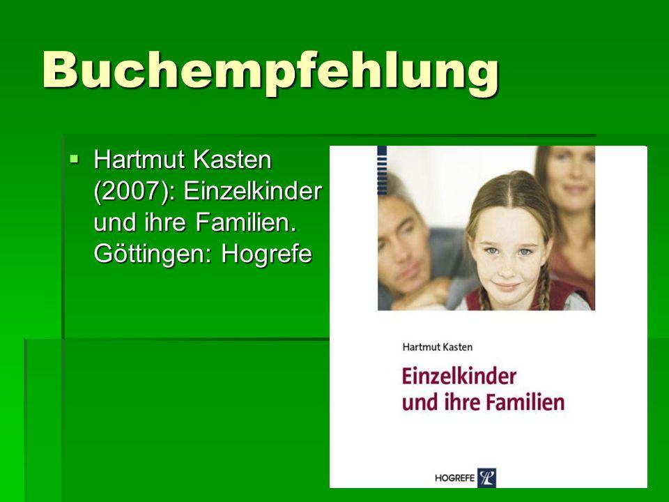 Buchempfehlung Hartmut Kasten (2007): Einzelkinder und ihre Familien. Göttingen: Hogrefe