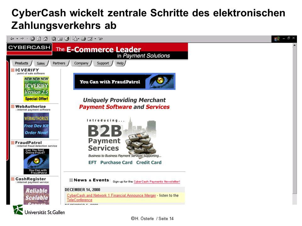 CyberCash wickelt zentrale Schritte des elektronischen Zahlungsverkehrs ab