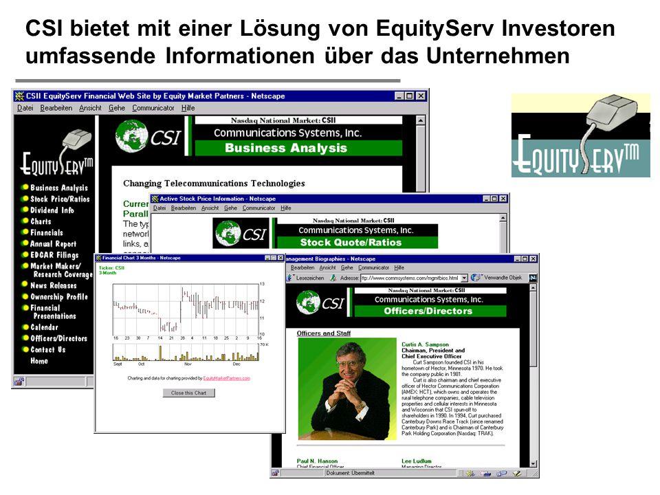CSI bietet mit einer Lösung von EquityServ Investoren umfassende Informationen über das Unternehmen