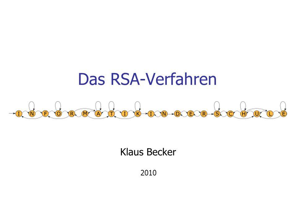 Das RSA-Verfahren Klaus Becker 2010