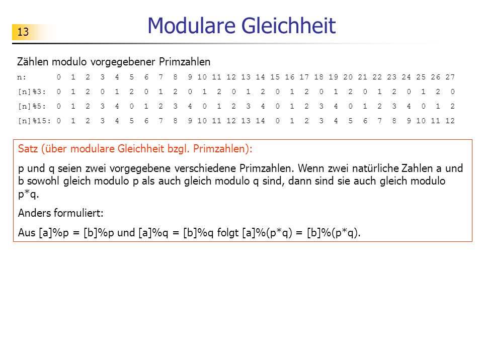 Modulare Gleichheit Zählen modulo vorgegebener Primzahlen