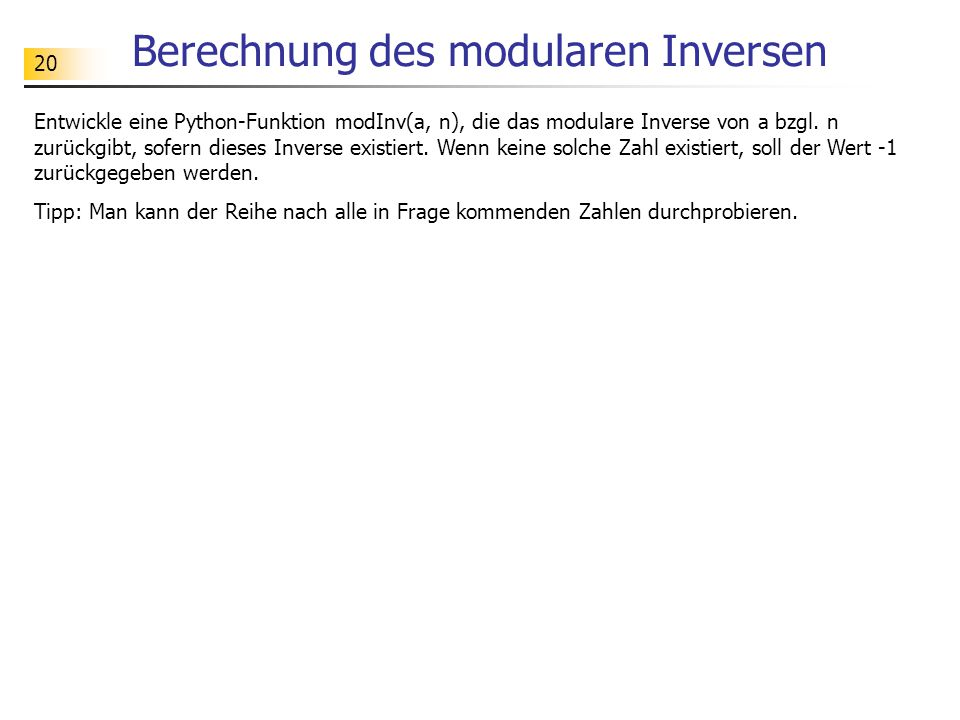 Berechnung des modularen Inversen