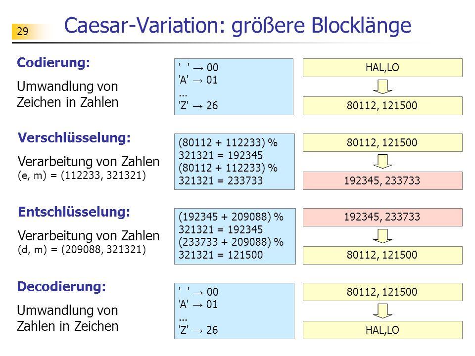 Caesar-Variation: größere Blocklänge