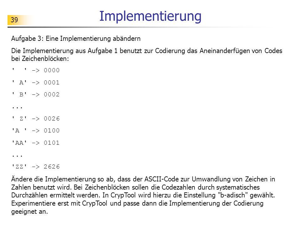 Implementierung Aufgabe 3: Eine Implementierung abändern