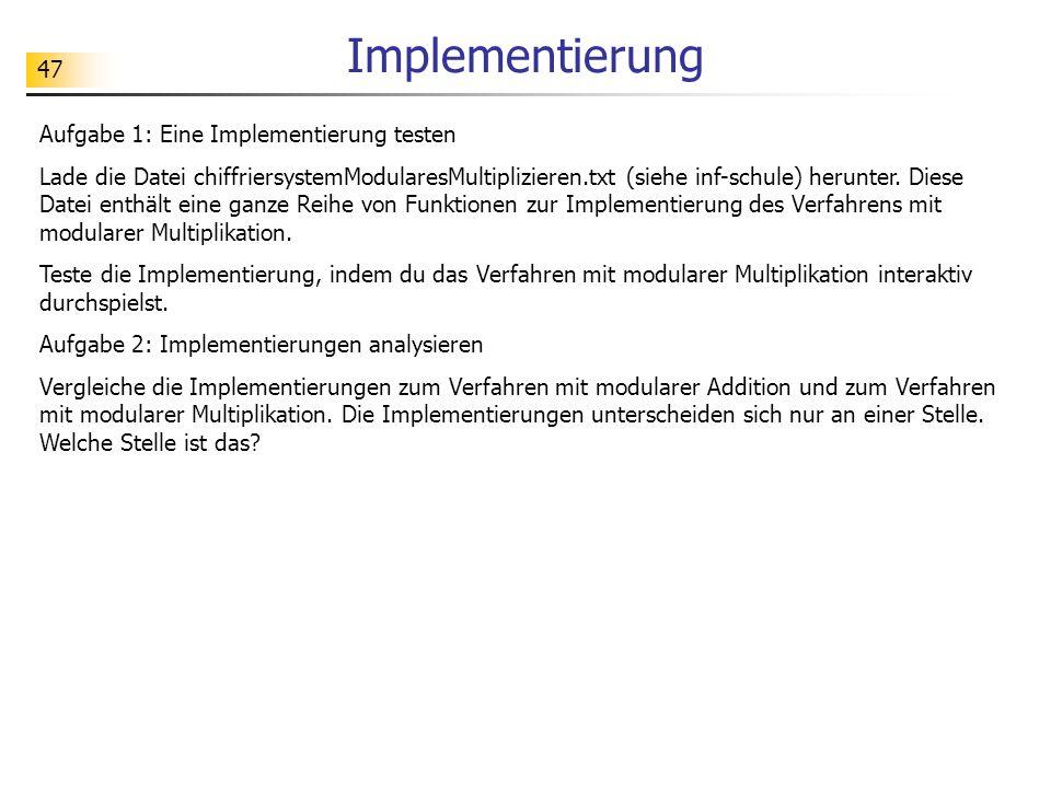Implementierung Aufgabe 1: Eine Implementierung testen